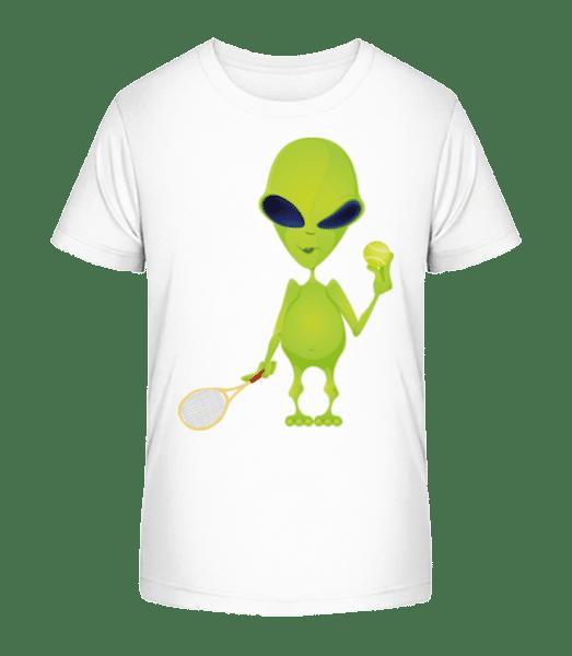 Alien Spielt Tennis - Kinder Premium Bio T-Shirt - Weiß - Vorn