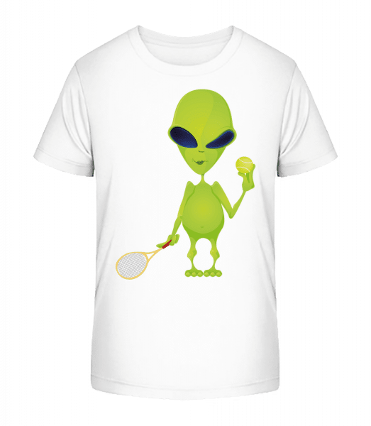 Alien Plays Tennis - Detské Premium Bio tričko - Biela - Predné