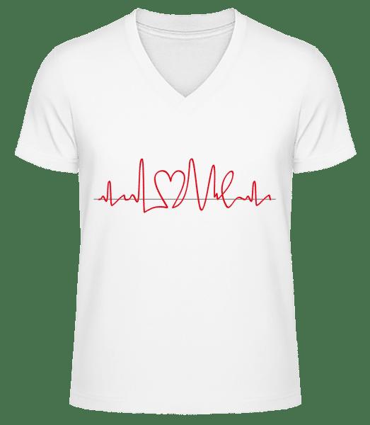 Fréquence Cardiaque - T-shirt bio col en V Homme - Blanc - Vorn