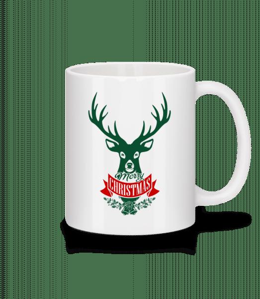 Merry Christmas Deer Label - Mug - White - Vorn