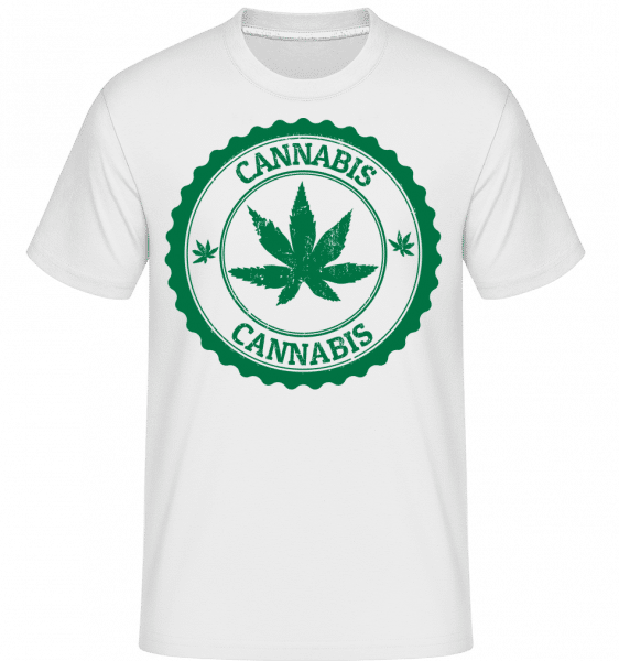 Cannabis Logo -  Shirtinator Men's T-Shirt - White - Vorn