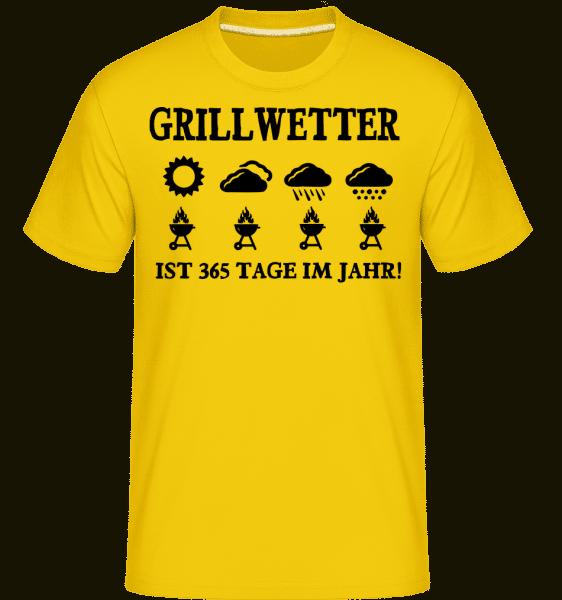 Grillwetter Ist 365 Tage Im Jahr - Shirtinator Männer T-Shirt - Goldgelb - Vorn