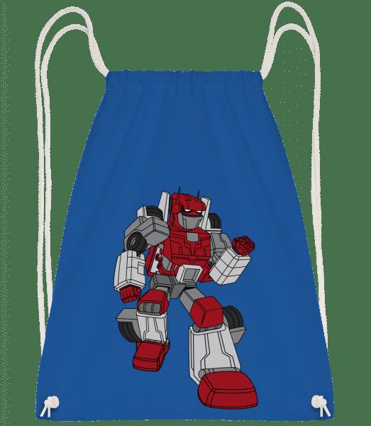Car Robot - Drawstring batoh se šňůrkami - Královská modrá - Napřed