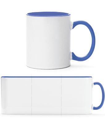 Dvojfarebný hrnček s farbou vo vnútri - Biela / Modrá - Predné