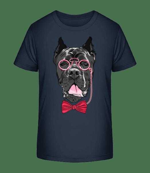 Dog With Glasses - Kid's Premium Bio T-Shirt - Navy - Vorn