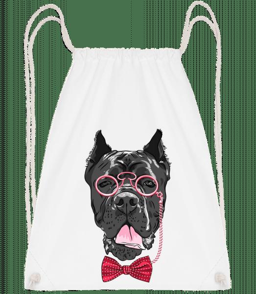 Dog With Glasses - Drawstring Backpack - White - Vorn