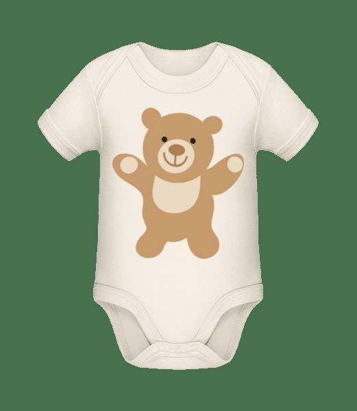 Kinder Comic - Bär - Baby Bio Strampler - Creme - Vorn