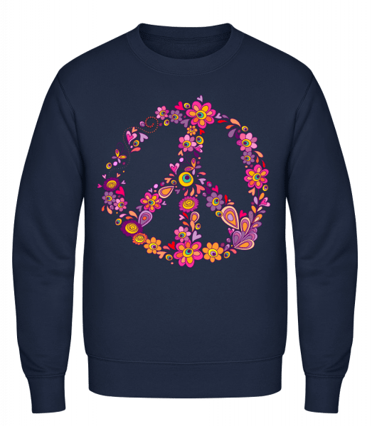Peace Sign Flowers - Classic Set-In Sweatshirt - Navy - Vorn