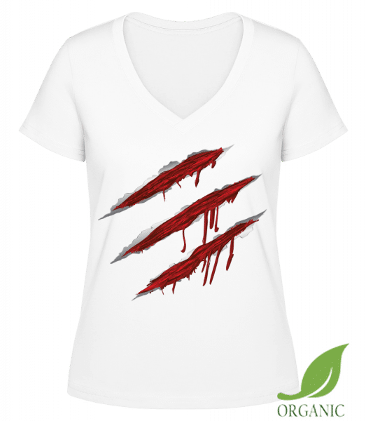 "Bloody Scratches - ""Janet"" Organic V-Neck T-Shirt - White - Vorn"