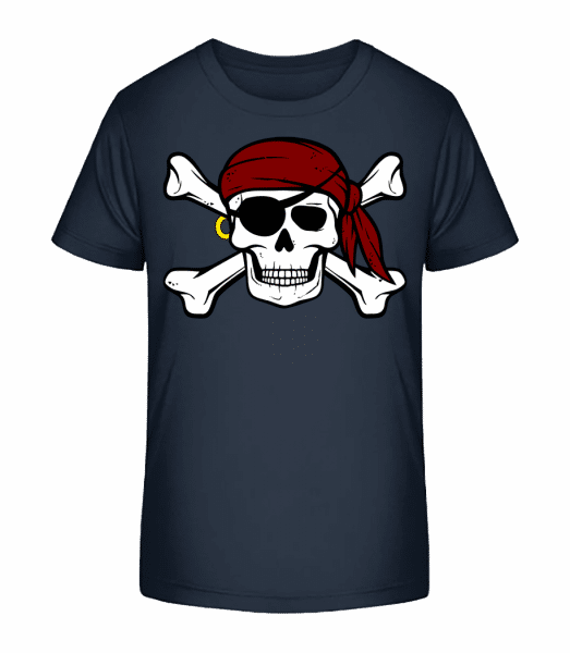 Pirate Skull - Kid's Premium Bio T-Shirt - Navy - Vorn