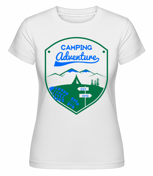 Camping Adventure Sign -  Shirtinator Women's T-Shirt - White - Vorn