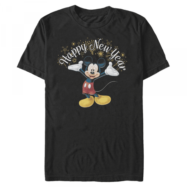 Mickey Happy New Year Mickey Mouse - Disney - Men's T-Shirt - Black - Front