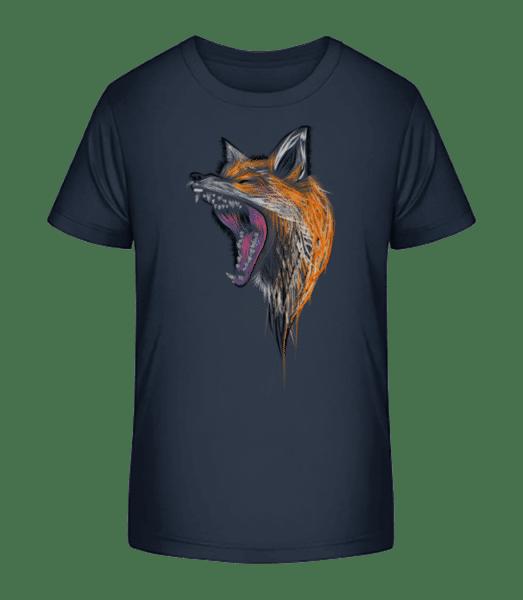 Howling Fox - Kid's Premium Bio T-Shirt - Navy - Vorn