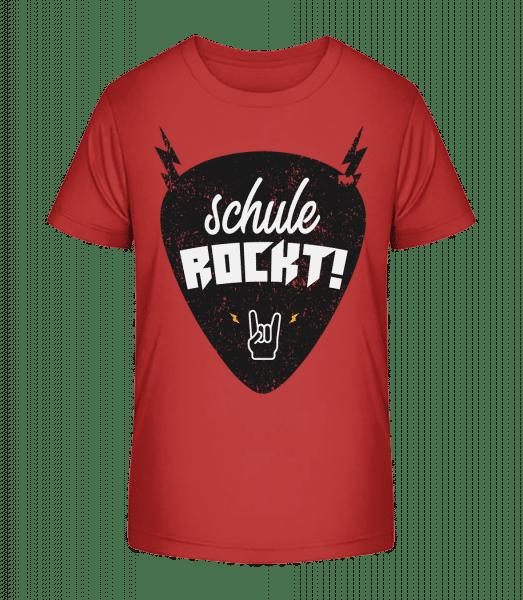 Schule Rockt - Kinder Premium Bio T-Shirt - Kirschrot - Vorn