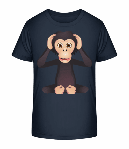 Deaf Monkey - Kid's Premium Bio T-Shirt - Navy - Front