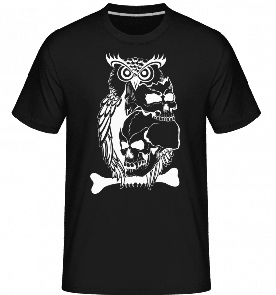Eulen Totenköpfe Tattoo - Shirtinator Männer T-Shirt - Schwarz - Vorn