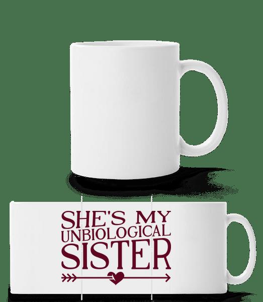 Unbiological Sister - Panorama Mug - White - Vorn