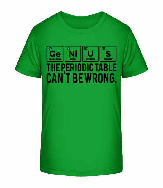 Periodic Table Genius - Kid's Premium Bio T-Shirt - Green - Vorn