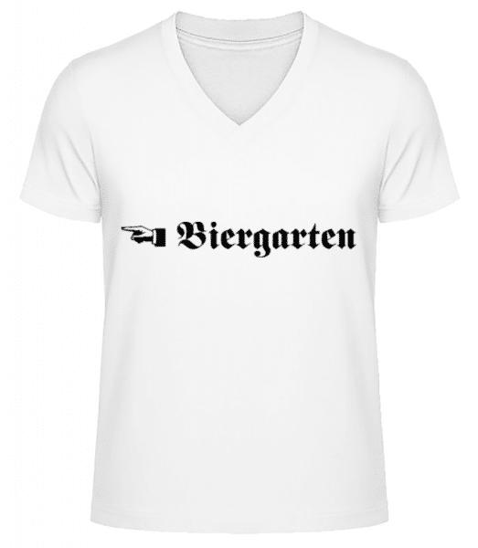 Biergarten - Männer Bio T-Shirt V-Ausschnitt - Weiß - Vorne