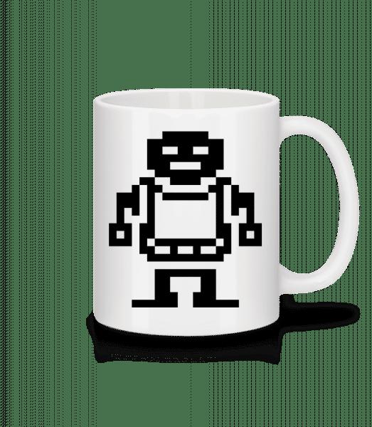 Pixel Robots Black - Mug en céramique blanc - Blanc - Devant