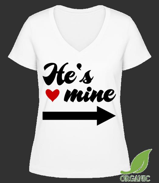 """He's Mine - """"Janet"""" Organické tričko s V-výstrihom - Biela - Predné"""