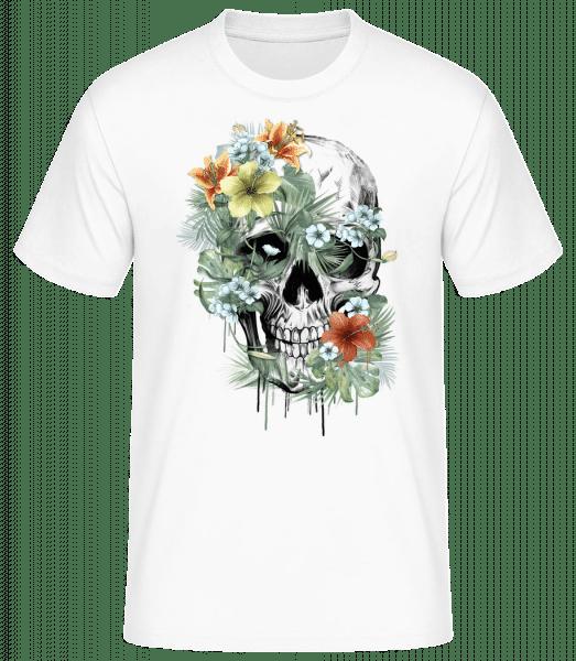 Flower Skull - Pánské basic tričko - Bílá - Napřed