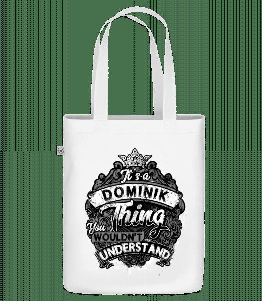 """Je to věc Dominik - Organická taška """"Earth Positive"""" - Bílá - Napřed"""