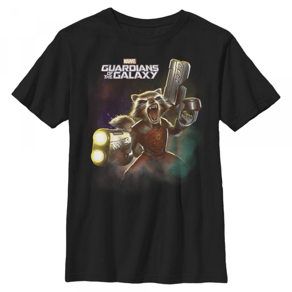 Complex Space Rocket - Marvel Guardians of the Galaxy - Kids T-Shirt - Black - Front