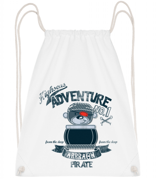 Pirate Teddy Adventure - Drawstring Backpack - White - Vorn