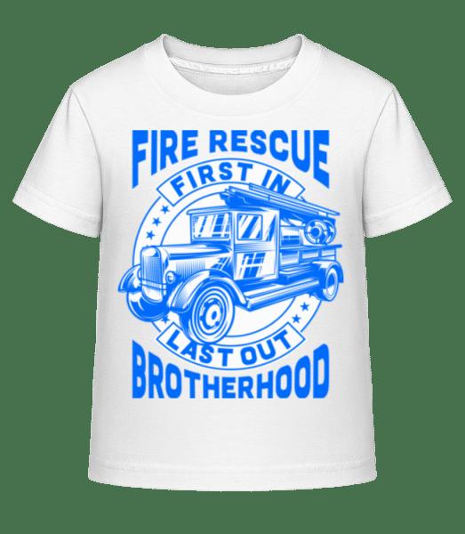Fire Rescue First In Last - Kid's Shirtinator T-Shirt - White - Vorn