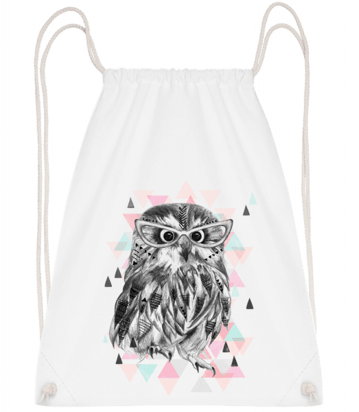 Hipster Owl - Drawstring Backpack - White - Vorn