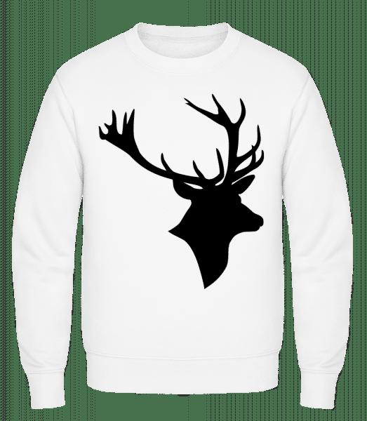 Deer Head Black - Classic Set-In Sweatshirt - White - Vorn