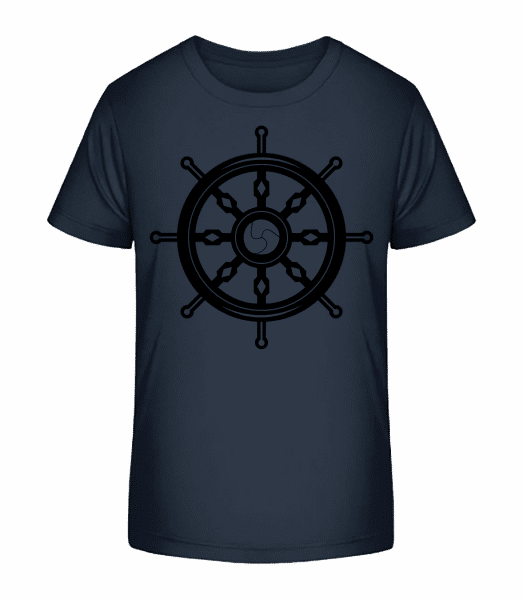 Wheel Black/White - Kid's Premium Bio T-Shirt - Navy - Front