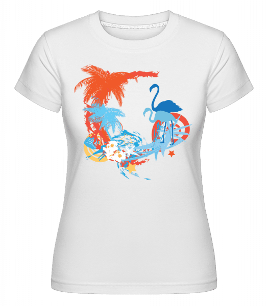 Flamingos In Paradise Blue/Orang -  Shirtinator Women's T-Shirt - White - Vorn