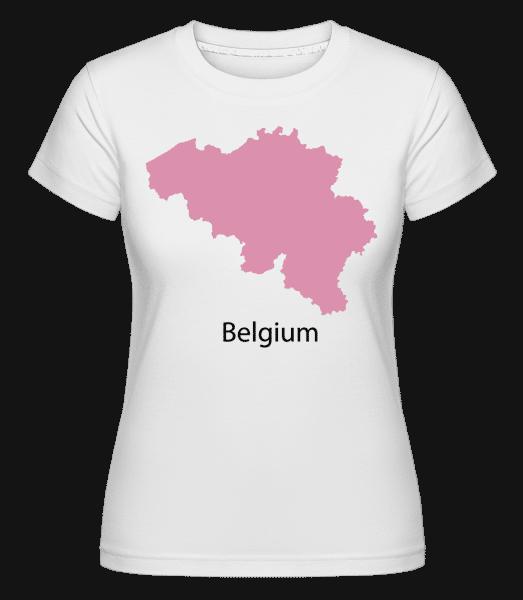 Belgium Silhouette Pink -  Shirtinator Women's T-Shirt - White - Vorn