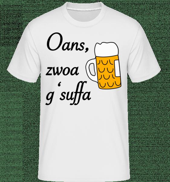 Oans Zwoa Gsuffa - Shirtinator Männer T-Shirt - Weiß - Vorn