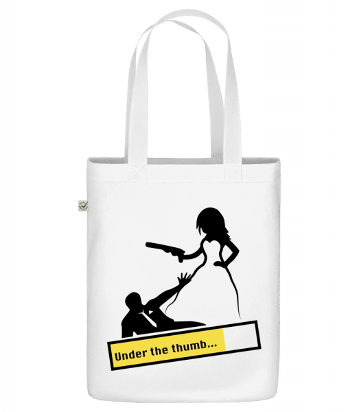 """Under The Thumb - Organic """"Earth Positive"""" tote bag - White - Front"""