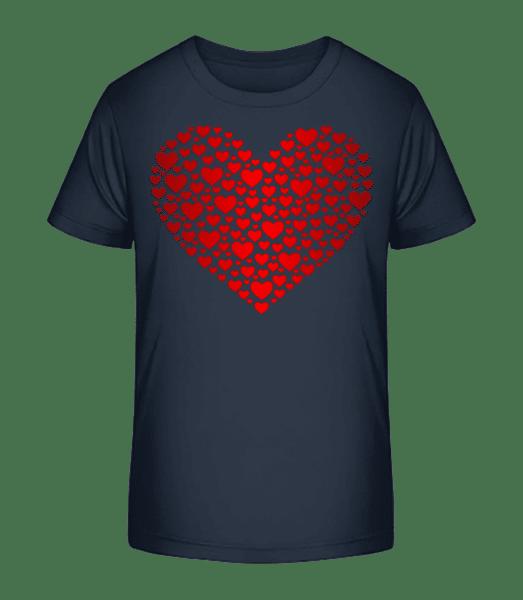 Herz - Kinder Premium Bio T-Shirt - Marine - Vorn