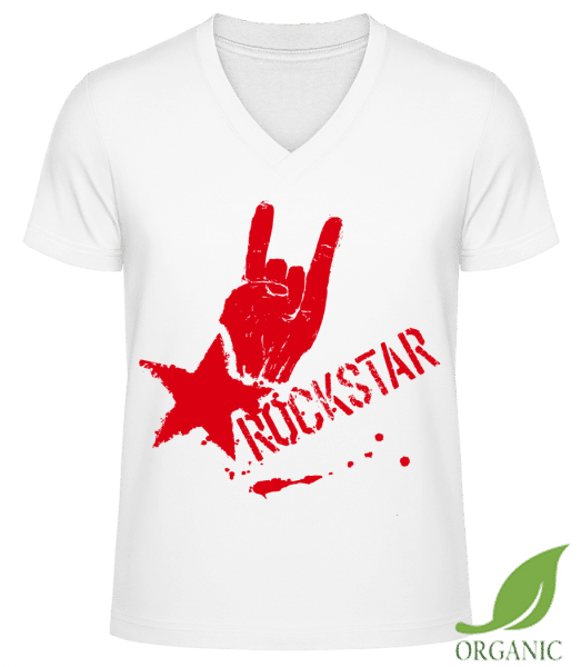 "Rockstar Symbol - ""James"" Organic V-Neck T-Shirt - White - Vorn"