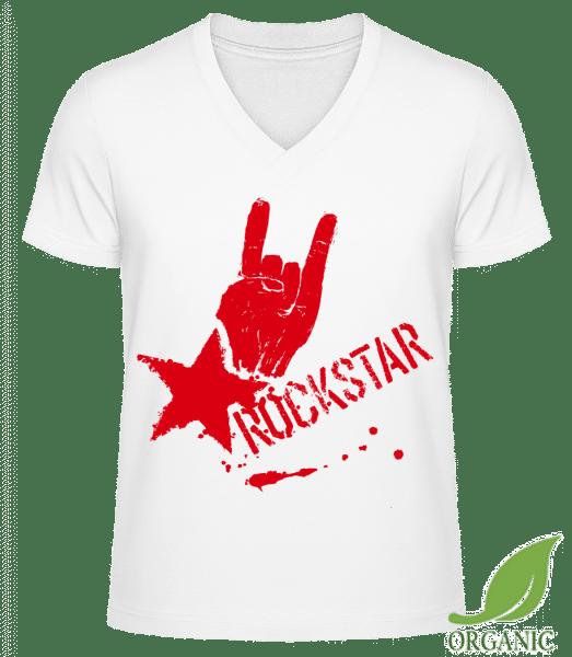 """Rockstar Symbol - """"James"""" Organické tričko s V-výstrihom - Biela - Predné"""
