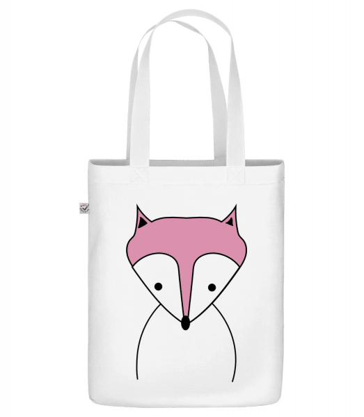 "Cute Fox - Organic ""Earth Positive"" tote bag - White - Front"