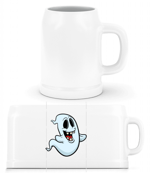 Cartoon Ghost - Beer Mug - White - Vorn