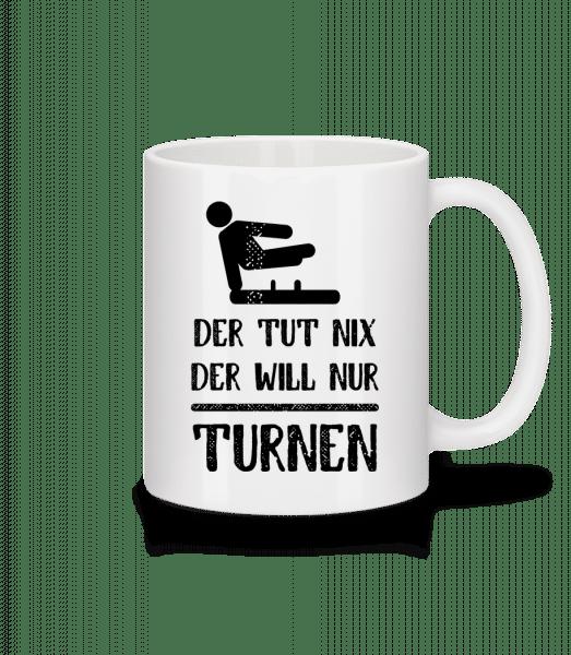 Der Tut Nix Nur Turnen - Tasse - Weiß - Vorn