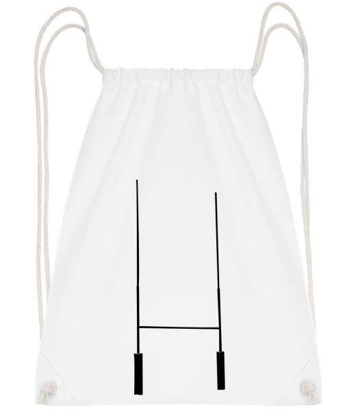 Football Goal - Drawstring Backpack - White - Vorn