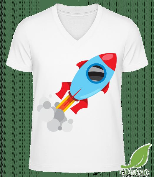 "Superhero Rocket - ""James"" Organic V-Neck T-Shirt - White - Vorn"