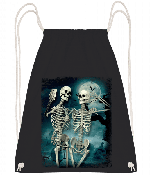 Skeleton Selfie - Drawstring Backpack - Black - Vorn