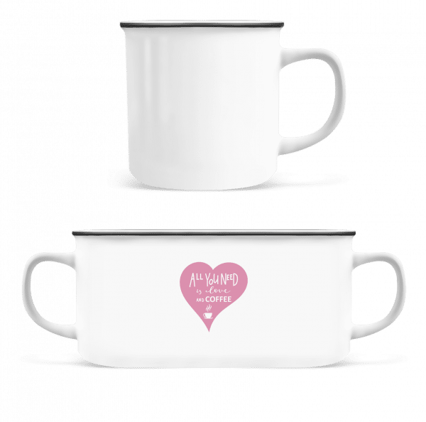 Love And Coffee - Enamel-cup - White - Front