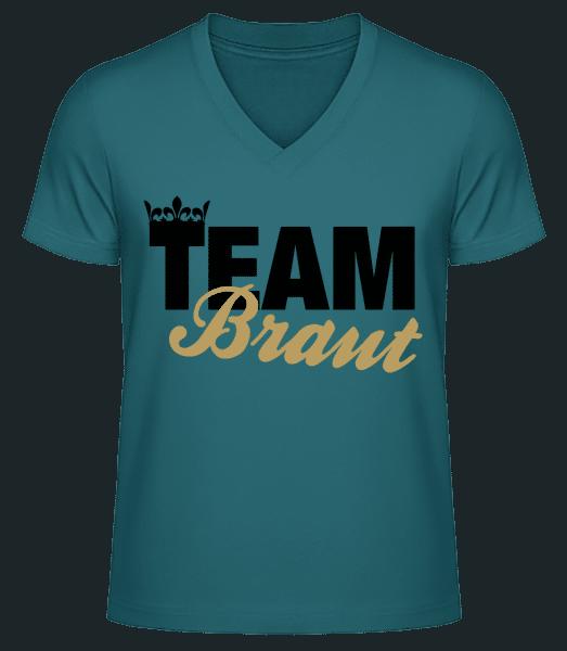 Team Braut Krone - Männer Bio T-Shirt V-Ausschnitt - Petrol - Vorn