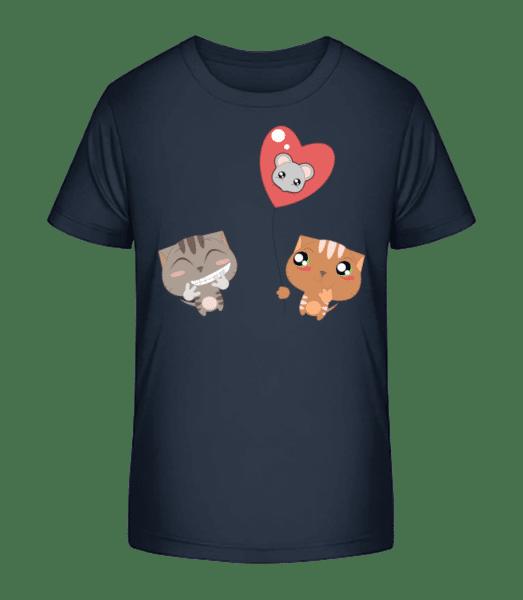 Cats Heart Balloon - Kid's Premium Bio T-Shirt - Navy - Vorn