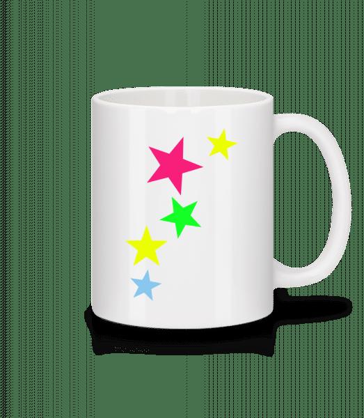 Bunte Sterne - Tasse - Weiß - Vorn